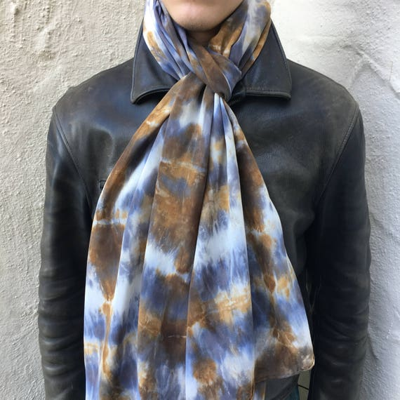 "Silk Crepe de Chine Scarf or Shawl in Gray, Brown, & White 20""x90"" One of a Kind Handmade Wearable Art. For neck, shawl, halter top."