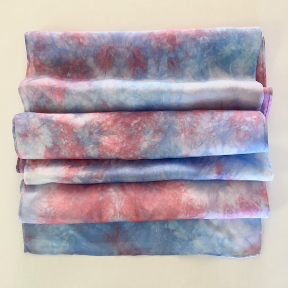 Handmade Silk Scarf in Red, White, & Blue