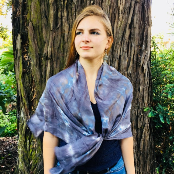 Handmade Large Square Silk Scarf for Women or Men in Charcoal, White, & Blue