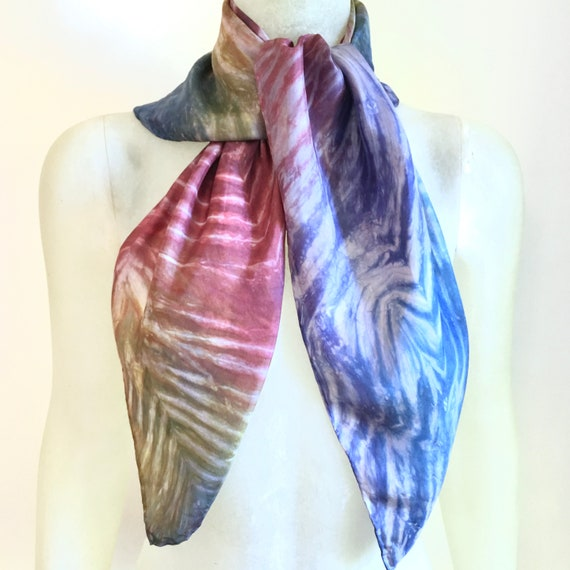 Handmade Silk Scarf in Multi-colors Rainbow