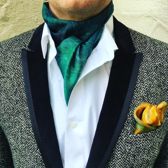 Handmade Silk Scarf in Forest Green, Pine, & Teal