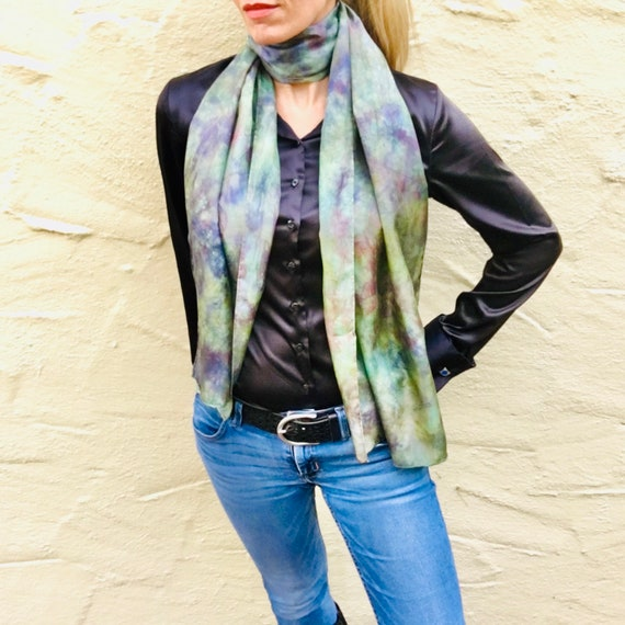 Handmade Silk Scarf or Wrap in Sage Green, Purple & Red