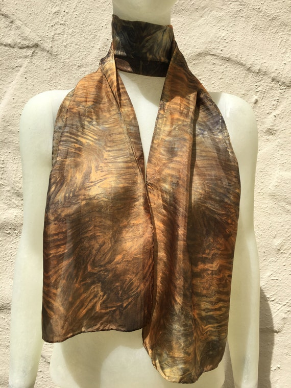 Handmade Silk Scarf in Orange, Salmon, Black & Grey