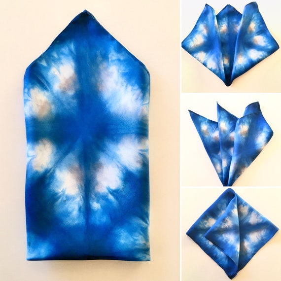 Silk Scarf Pocket Square, or Handkerchief in Blue, Grey & White -  One of a Kind Handmade