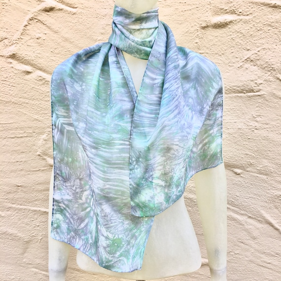 "Silk Scarf in Mint Green, Silver Gray & White 11""x60"" One of a Kind Handmade Wearable Art. Use for neck, head, belt or tie"