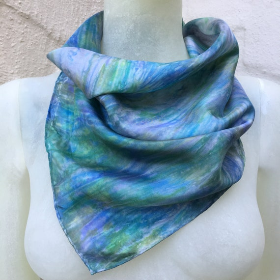 Handmade Silk Scarf in Violet, Green, Blue & Silver for Men or Women