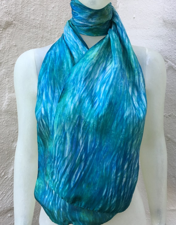 Handmade Silk Scarf for Women or Men in Green, Teal, Blue, Aqua, & White