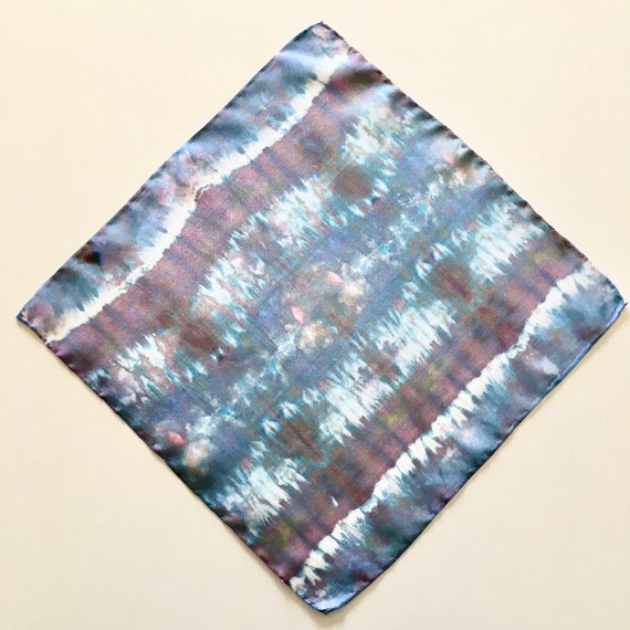 Handmade Silk Pocket Square, or Handkerchief in Blue Rainbow.  One of a Kind.