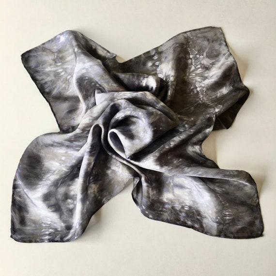 Silk Scarf Bandana in Charcoal, Platinum, & White