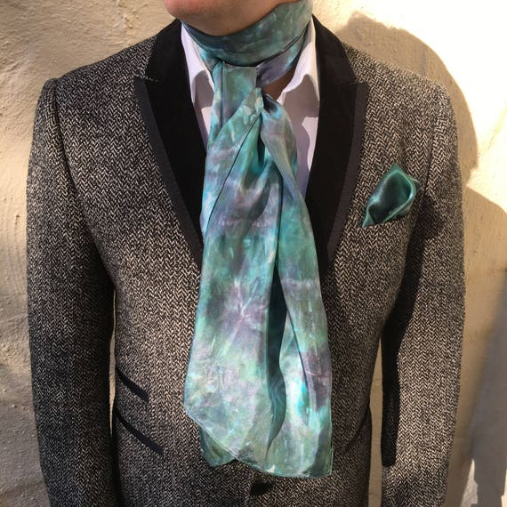 """Silk Scarf or Wrap for Women or Men in Green, Gray & White 14""""x72"""" One of a Kind Handmade Wearable Art. Use for neck, head, belt, or tie."""