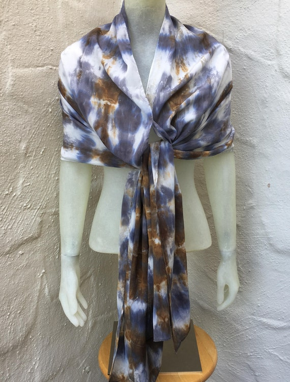 "Silk Crepe de Chine Scarf for Women or Men in Gray, Brown, & White 20""x90"" One of a Kind Handmade Wearable Art. For neck, shawl, halter top."