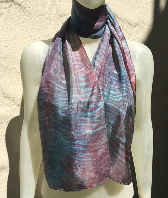 Handmade Silk Scarf for Women or Men in Red, Teal Blue, & Silver