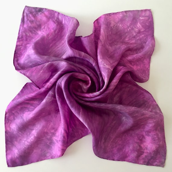 "Silk Scarf, Bandana, Face Covering in Magenta, Pink, & Gray - Handmade 21""x21"" One of a Kind Wearable Art"