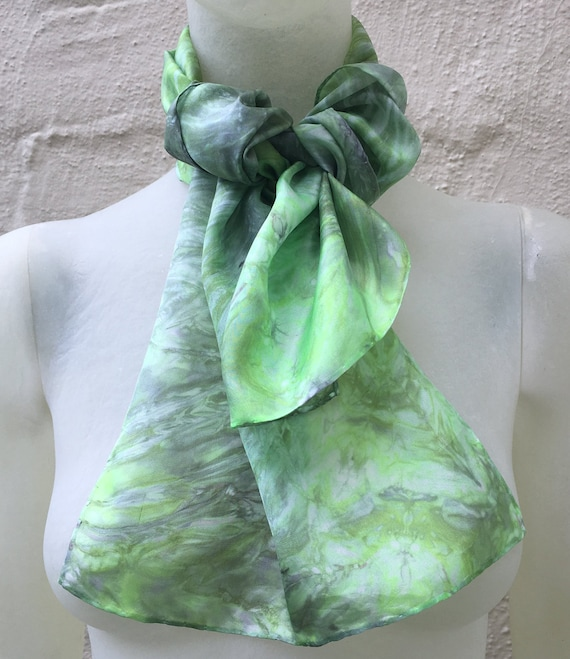 Handmade Silk Scarf for Women or Men in Chartreuse Green & Silver Marble