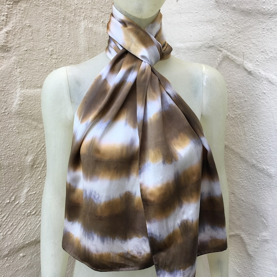 Silk Charmeuse Scarf for Women or Men in Brown, Silver & White - One of a Kind Handmade. Use for neck, shawl, tie, belt, halter top.