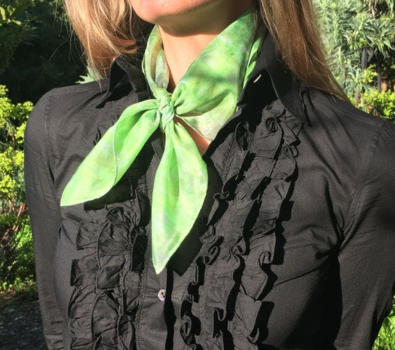 Handmade Silk Bandana Scarf in Chartreuse, Platinum, Silver & Greenery for Women or Men