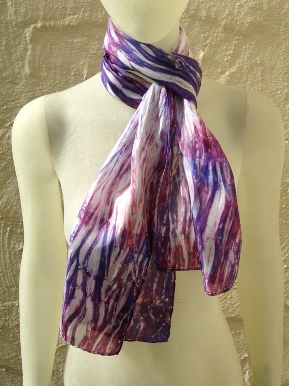 "Silk Scarf for Women or Men in Red, White, Blue & Purple 11""x60"" One of a Kind Wearable Art. Use for neck or head scarf, belt, or tie."