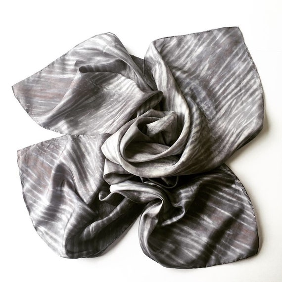 Handmade Large Square Silk Scarf in Charcoal, Silver, & White