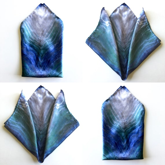 Handmade Silk Scarf for Men or Women, Pocket Square, or Handkerchief in Emerald Green & Sapphire Blue
