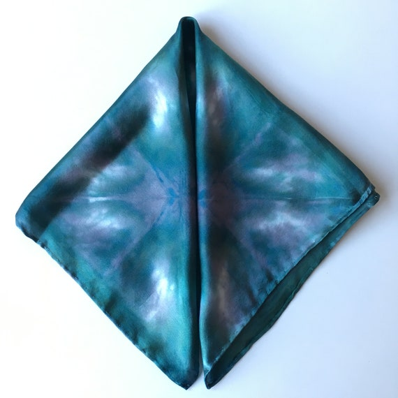 Handmade Silk Scarf for Men or Women, Pocket Square, or Handkerchief in Forest Green, Grey, & White