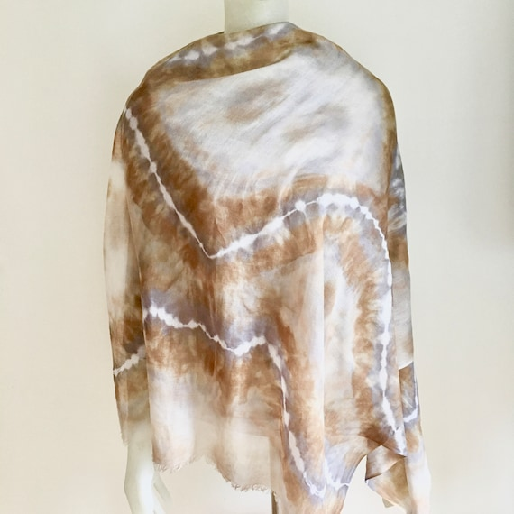 Cashmere and Silk Scarf Shawl for Women or Men in Gray, Brown, & Cream
