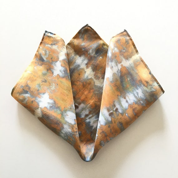 Handmade Silk Pocket Square, or Handkerchief in Gold Tie Dye.  One of a Kind.