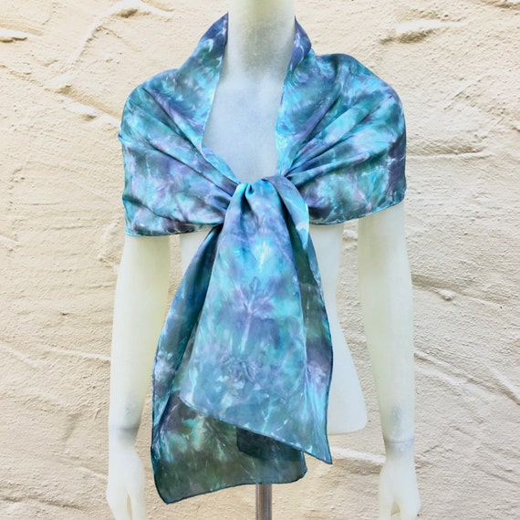 Silk Scarf or Wrap in Green, Gray & White