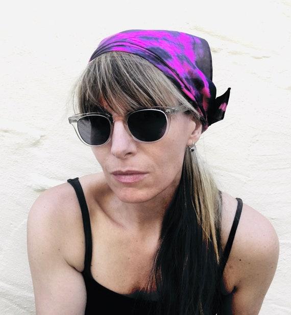 "Silk Scarf, Bandana, Face Covering in Hot Pink, Fuchsia & Black - Handmade 21""x21"" One of a Kind Wearable Art"