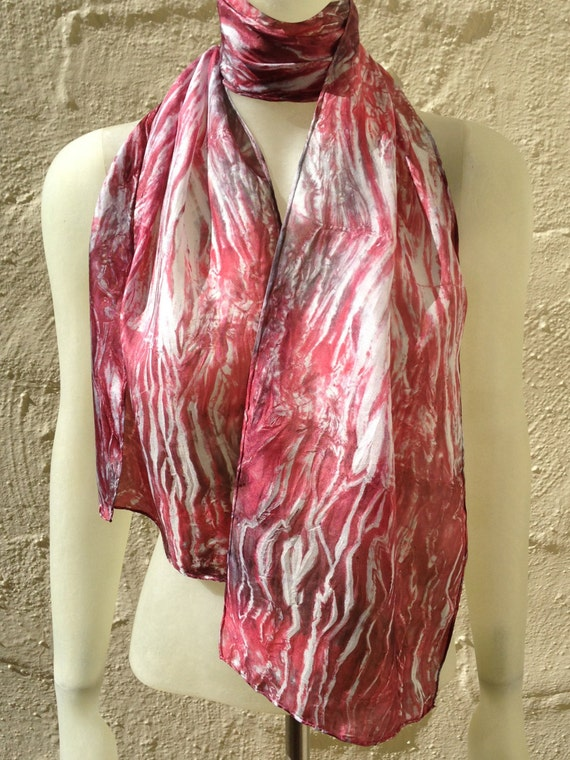 "Silk Scarf for Women or Men in Red, Raspberry, Grey & White 11""x60"" One of a Kind Wearable Art. Use for neck or head scarf, belt, or tie."