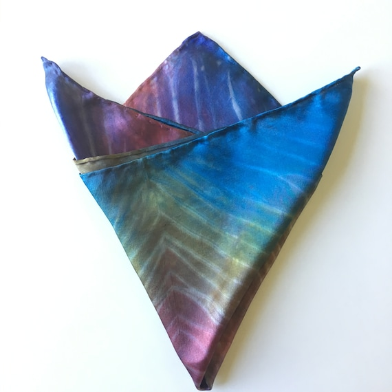 Handmade Pocket Square, Silk Scarf for Men or Women, Handkerchief in Multi-Color Rainbow Kaleidoscope