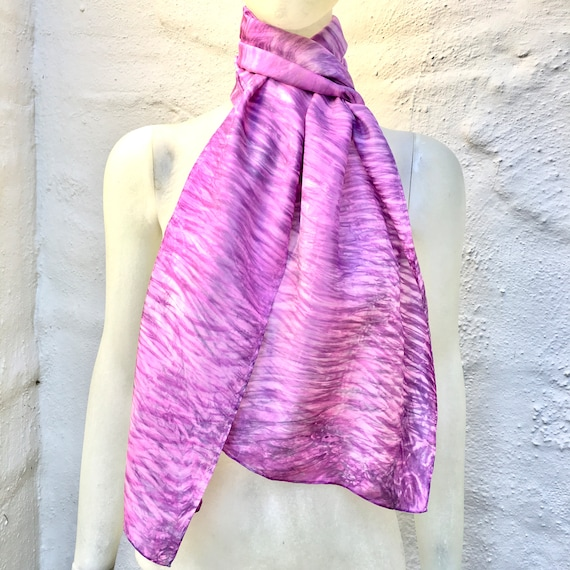 Handmade Silk Scarf for Women or Men in  Pink, Lavender, Violet, & Gray