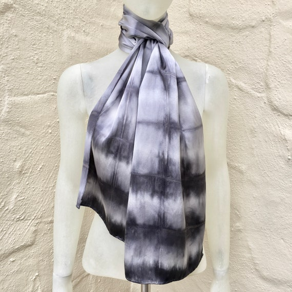 Handmade Silk Scarf in Silver Gray, Charcoal & White