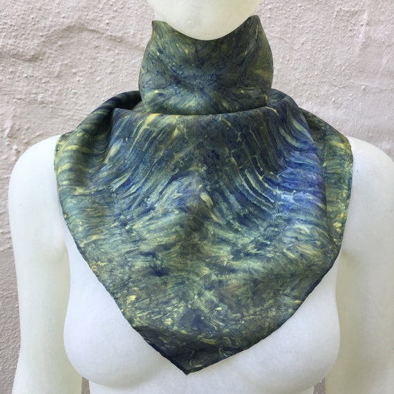 Handmade Silk Scarf in Navy Blue & Yellow Gold for Men or Women