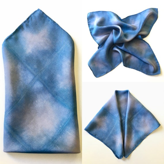 Silk Scarf for Men or Women, Pocket Square, or Handkerchief in Blue & Silver