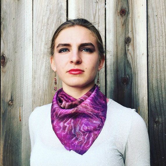 "Silk Scarf for Women or Men in Pink, Magenta, Mocha & Violet Handmade 21""x21"" One of a Kind Wearable Art. For neck, head, bandana, or tie."
