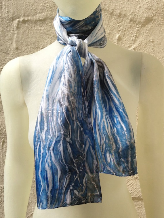"Silk Scarf for Women or Men in Blue, Grey & White 11""x60"" One of a Kind Handmade Wearable Art. Use for neck or head scarf, belt, or tie."