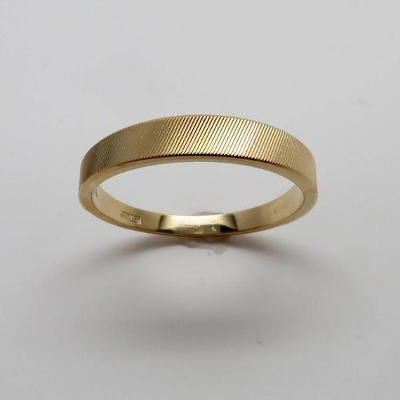 Never Worn Vintage Stock Size 10-14K White Gold Wide Face Tapered Shank Vintage Men/'s Etched Gold Wedding Ring