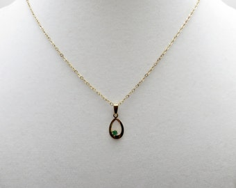 "Pretty 14K GF Emerald Tear Drop Shaped Pendant on a 18"" GF Cable Chain"