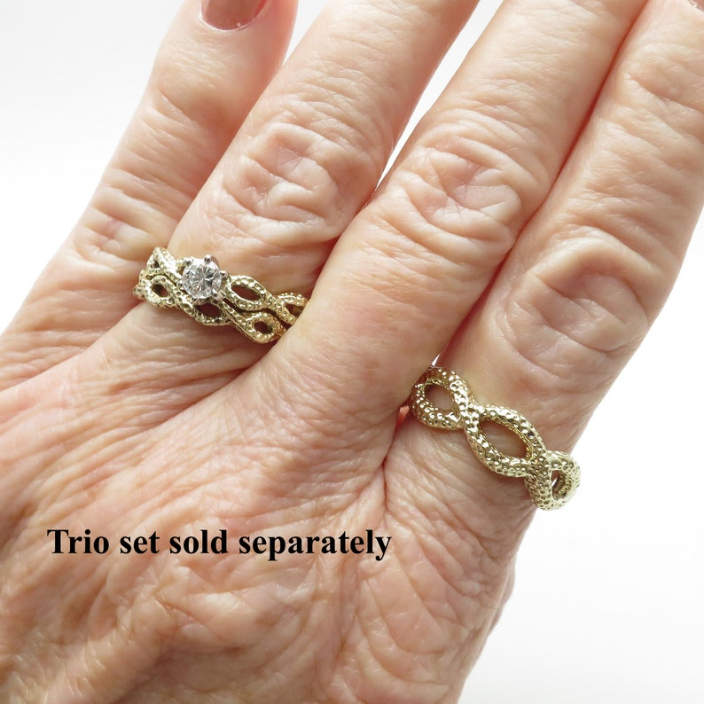 Weighs 2.76 Grams Unique 14K Yellow Gold Braided 3.5mm Wide Signature Ring Band  Stacking Ring Wedding Band  Size 6 12