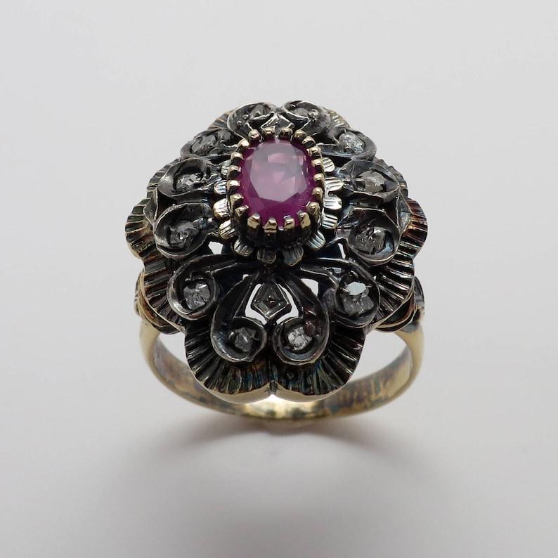 a743f741b0b Ladies Vintage New 18K Antique Look Ruby & Diamond Ring | Etsy