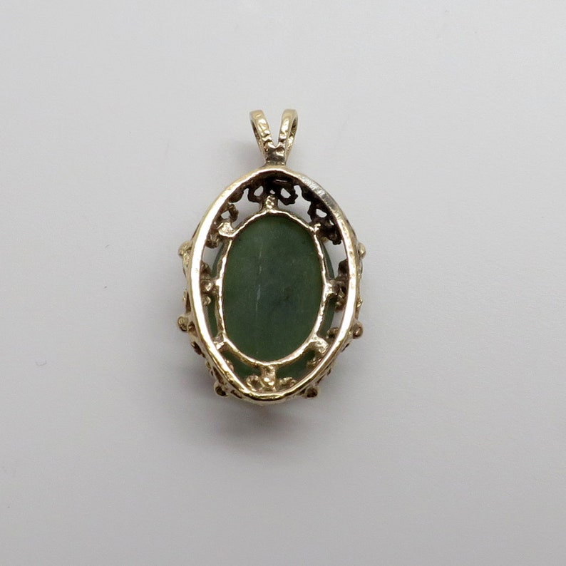 Nephrite Green Jade Pendant with Fancy Open Work Design Frame No Chain. Beautiful Vintage New 14 Yellow Gold Oval 3.5 ct