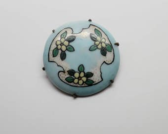 Vintage Hand Painted Blue Floral Round Porcelain Pin / Brooch