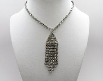 Stunning Vintage Rhinestone Tassel Necklace
