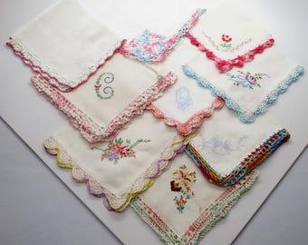 Lot of 9 Vintage Crocheted Edge & Embroidered Hankies / Handkerchiefs