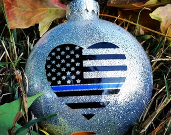 Thin blue line Christmas ornaments police gift police wife | Etsy
