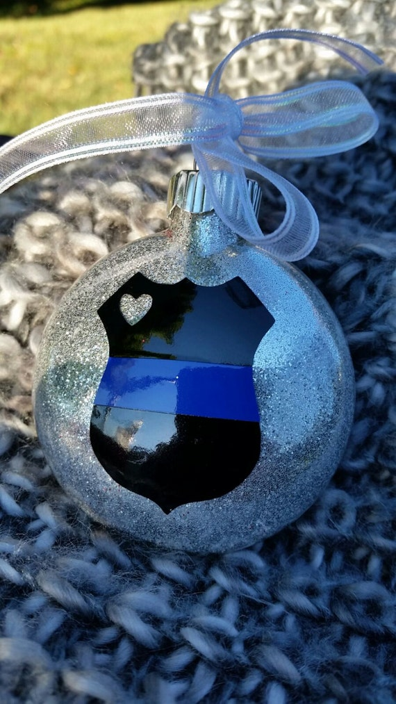 thin blue line christmas ornaments police gift police wife police officer gift police ornament glass ornaments glitter ornament