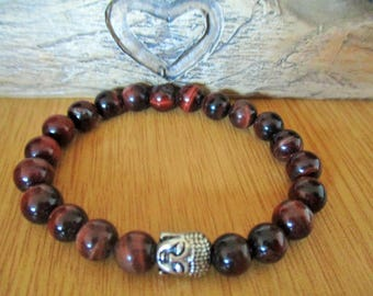 Red Tiger's Eye and Buddha Bracelet