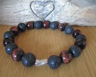 Red Tigers Eye and Black Lava Rock Bracelet