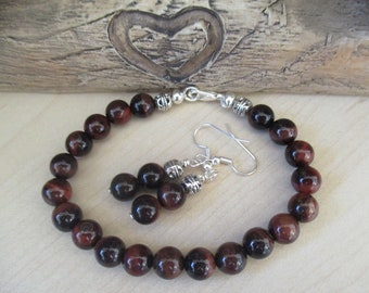 Red Tigers Eye Matching Bracelet and Earring Set