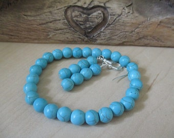 Blue Turquoise (Howlite) Bracelet and Earring Matching Set